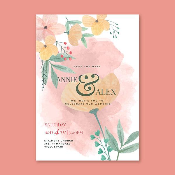 水彩花卉婚礼邀请卡