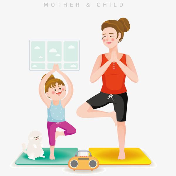 瑜伽母女亲子插画