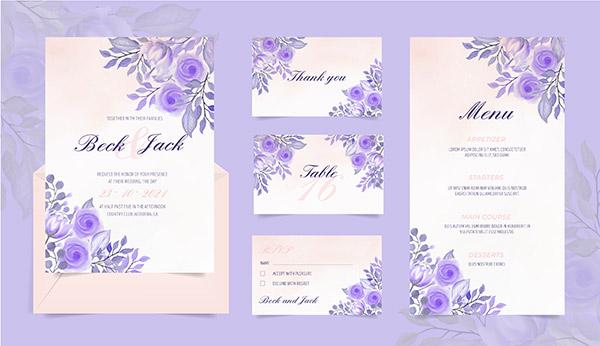 水彩花卉婚礼卡片
