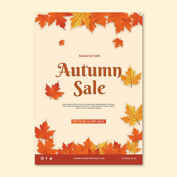 秋季促销矢量海报