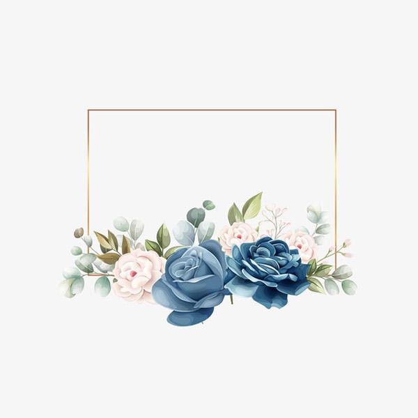 蓝色玫瑰花装饰元素