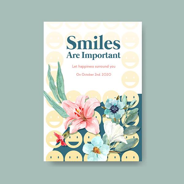 世界微笑日水彩海报