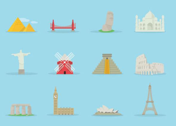 0点 关键词: 世界著名建筑标签图标矢量素材,世界,著名,建筑,金字塔