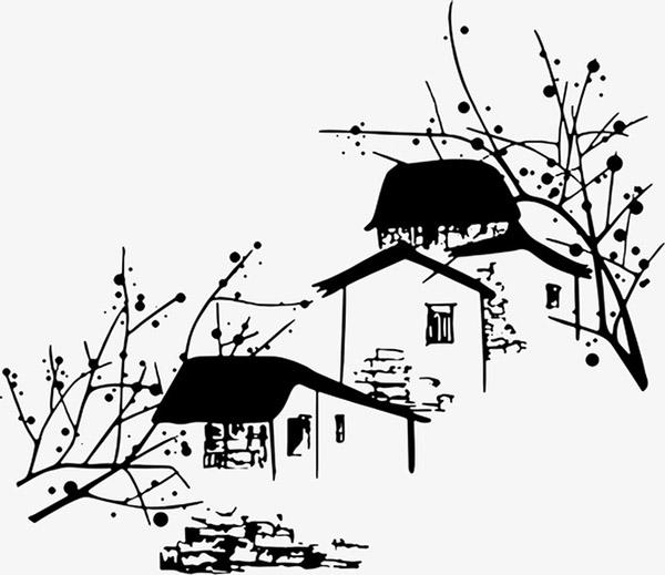 矢量水墨房子图