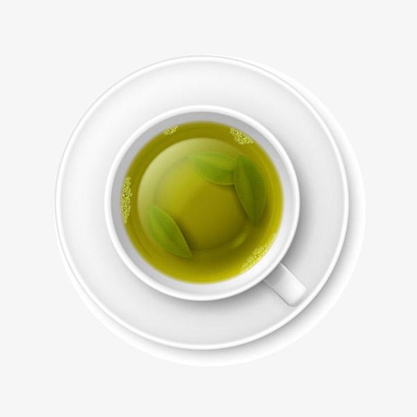 矢量绿叶茶汤