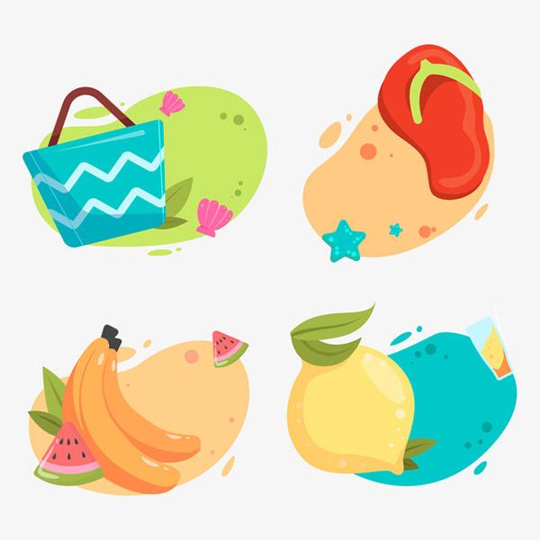 夏季矢量水果标签