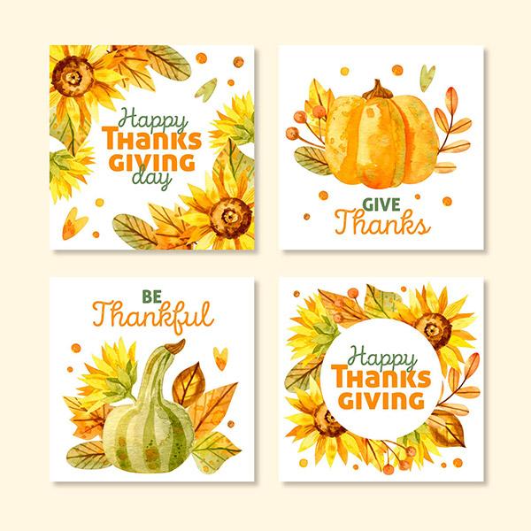 水彩感恩节卡片