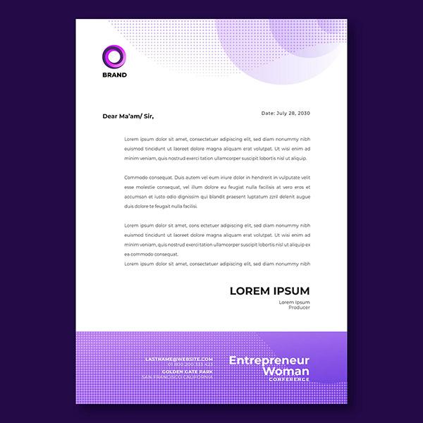 紫色商务信纸