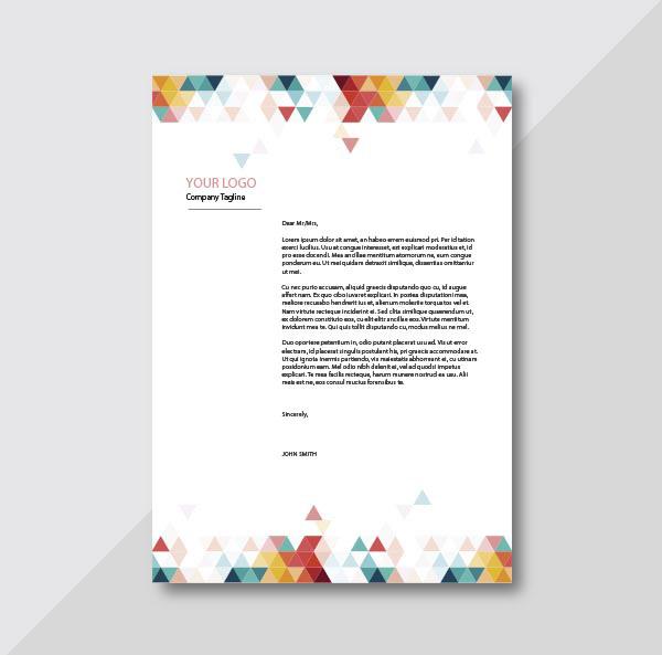 多彩三角图形装饰信纸