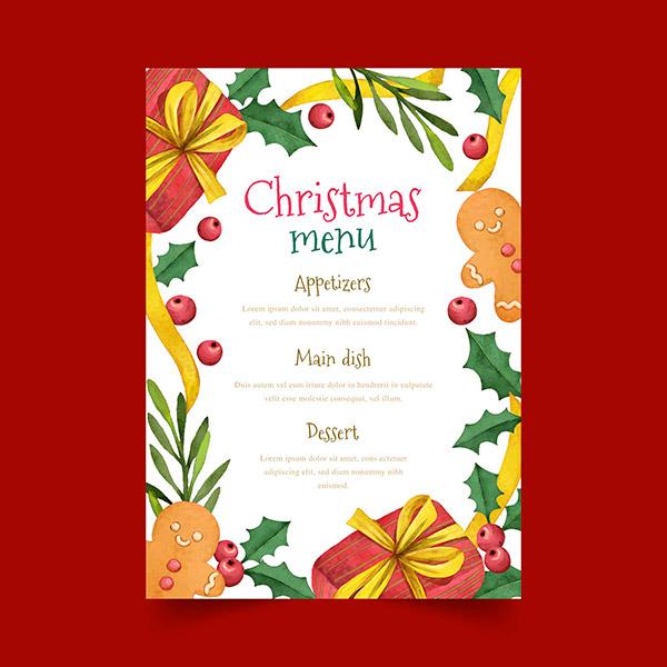 圣诞节手绘菜单