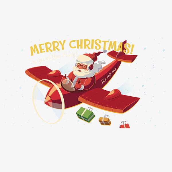 开飞机圣诞老人插画