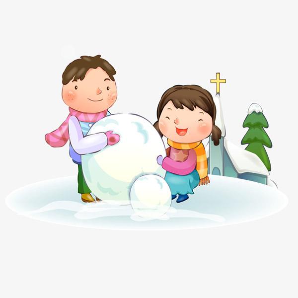 冬季堆雪人的孩子