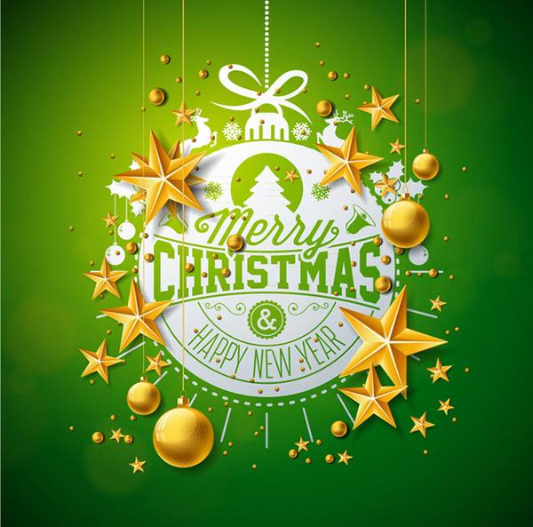 绿色圣诞贺卡