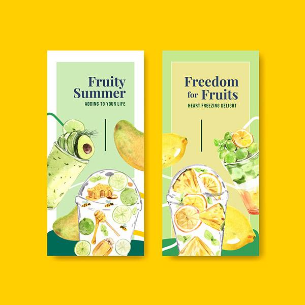 水果冰沙概念传单