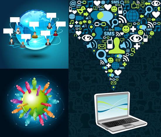 矢量科技所需点数: 0 点 关键词: 网络主题科技背景矢量图,网络主题