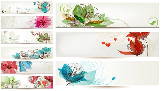手绘花卉banner设计矢量素材,手绘花卉,banner设计,线描花朵,彩色