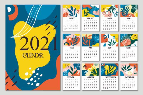 2021抽象花纹装饰日历