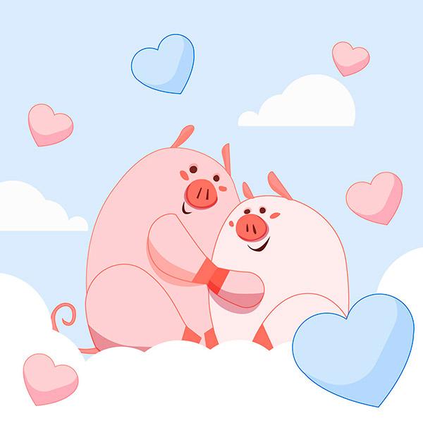 情人节卡通小猪插画