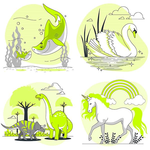 扁平化恐龙与独角兽