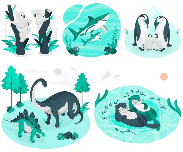 卡通鲨鱼与恐龙