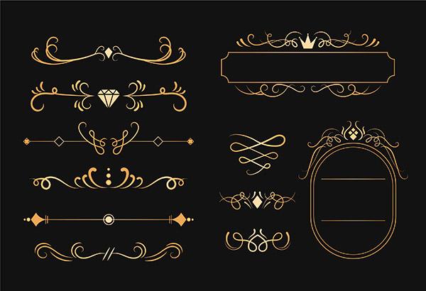 金色欧式花纹矢量