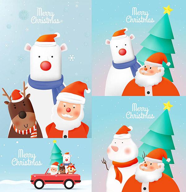 圣诞老人与北极熊驯鹿