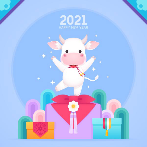 2021卡通牛年插画