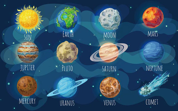 彩色星球空间元素