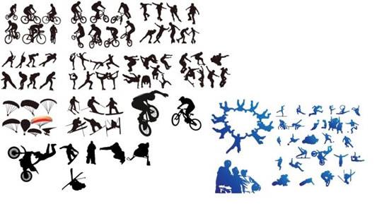 0 点 关键词: 各种极限运动剪影矢量图,极限运动,跳伞,滑冰,滑雪,跑酷