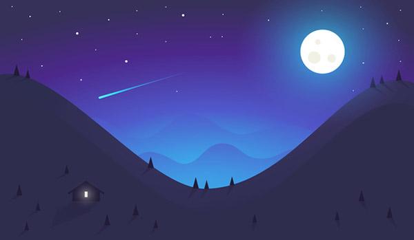 蓝色的夜空流星插画
