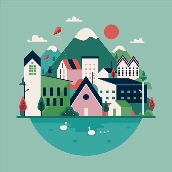矢量彩绘村庄风景图