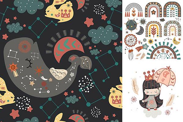 兔子与鲸鱼等插画