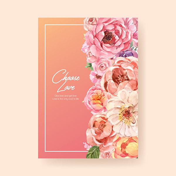 情人节花卉装饰卡