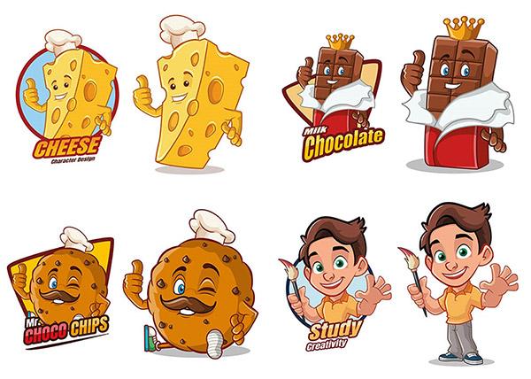 巧克力与奶酪卡通标志