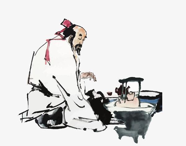 水墨煮茶老人