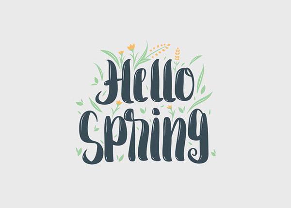 你好春季字母矢量