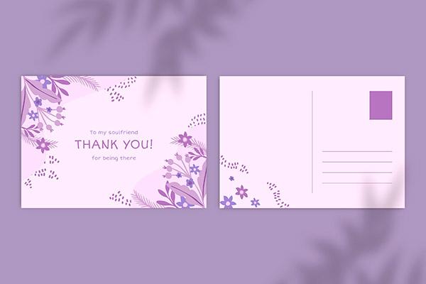 紫色花卉单色贺卡