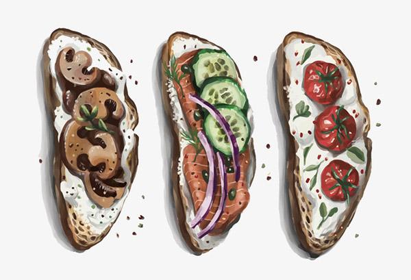 水彩法式三明治