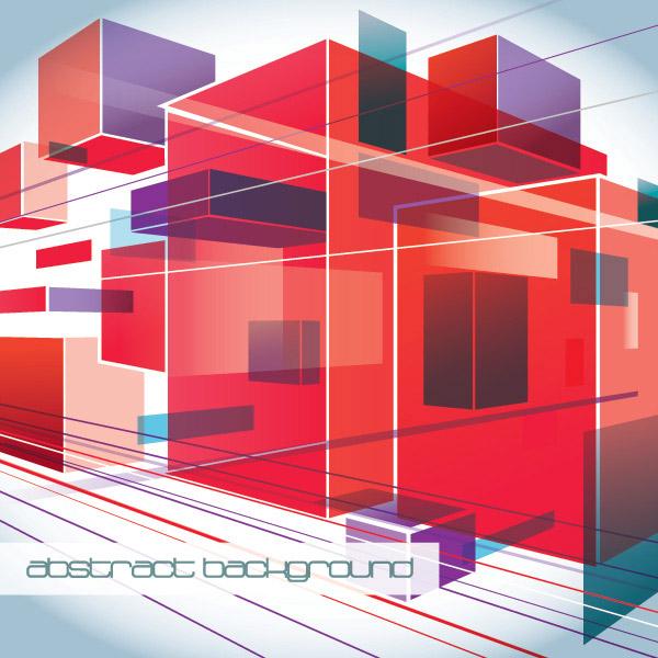 立体透视背景矢量素材,立体背景,透视立方体,方形,直线,3D背景,背景EPS矢量素材下载