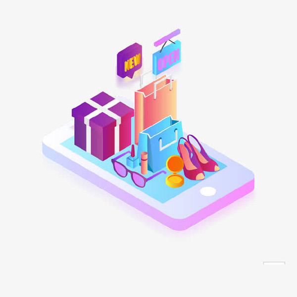 手机购物2.5D立体插画
