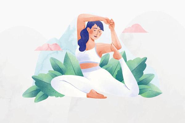 矢量瑜伽人物插画
