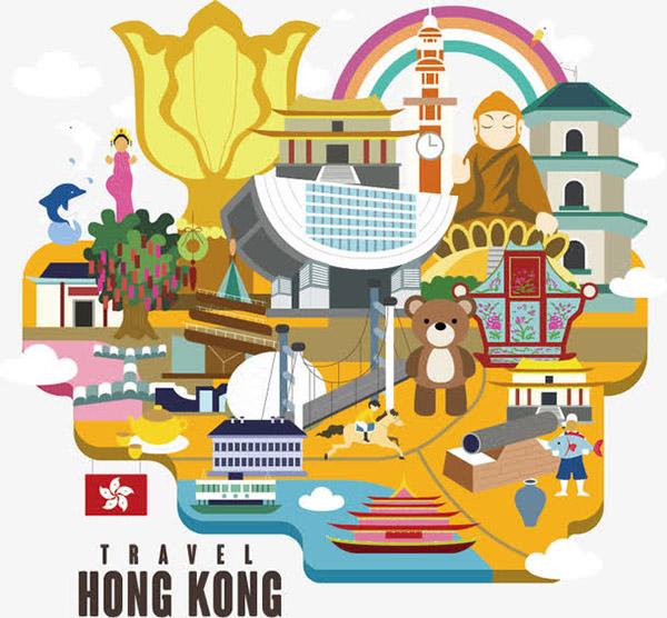 手绘香港景色插图
