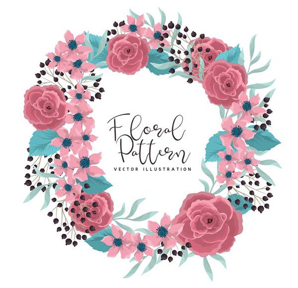 粉红色玫瑰的花环