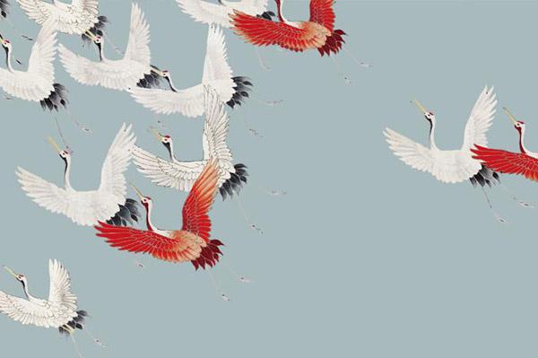 仙鹤飞鸟背景