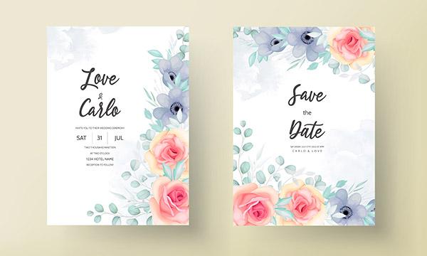 美丽花卉婚礼请柬