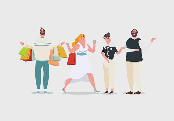 卡通购物人物插图