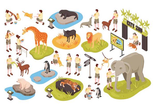 等轴测动物园插图