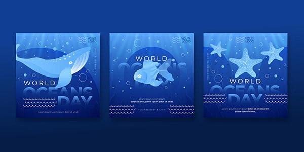 世界海洋日矢量海报
