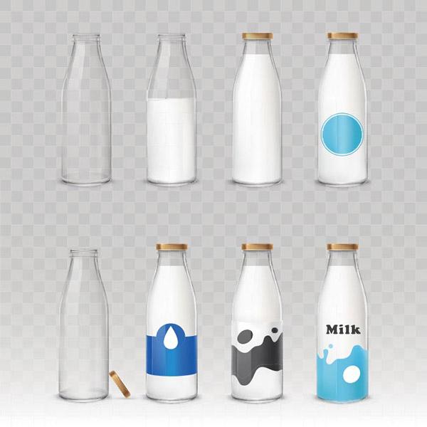 矢量玻璃瓶牛奶