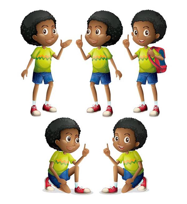 黑人男孩矢量